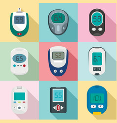 Glucose meter sugar test icons set flat style vector