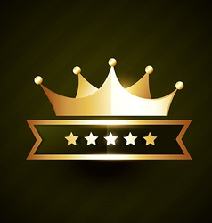 golden crown badge design with stars vector image