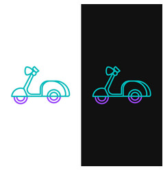 Green and purple line scooter icon isolated on vector