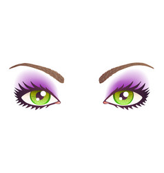 Green eyes with make-up vector