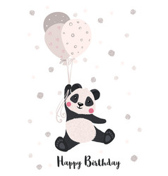 greeting card with cute panda with balloons vector image
