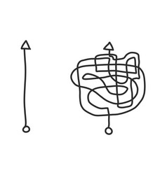 Hand drawing black arrow in simple and complex vector