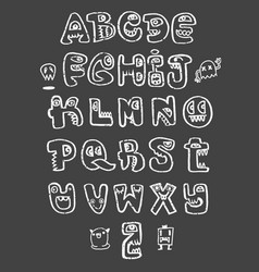 Hand drawn funny monster alphabet isolated vector
