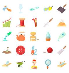 handicraft icons set cartoon style vector image