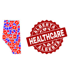 Healthcare composition of mosaic map of alberta vector