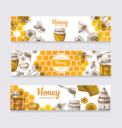 Honey banners vintage hand drawn bee and honeyed vector