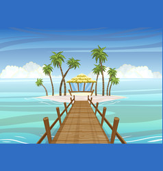 idealistic tropical island wooden bridge to the vector image