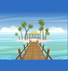 idealistic tropical island wooden bridge vector image