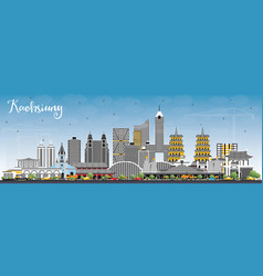 kaohsiung taiwan city skyline with gray buildings vector image
