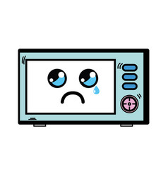 Kawaii cute crying microwaves technology vector