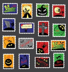 Large Set of Halloween Postage Stamps vector image
