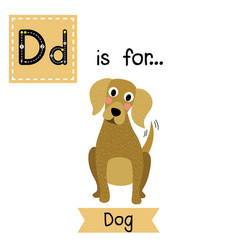 Letter d tracing sitting dog vector