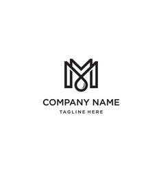 letter m with oil drop logo design concept vector image