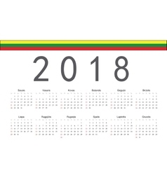 Lithuanian 2018 year calendar vector