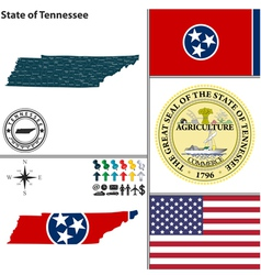 Map of Tennessee with seal vector image
