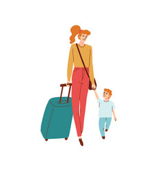 mom and son walk hand in hand vector image