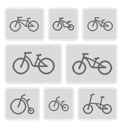 Monochrome icons with bicycles vector