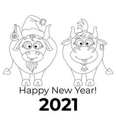 new year 2021 chinese year bull cute vector image