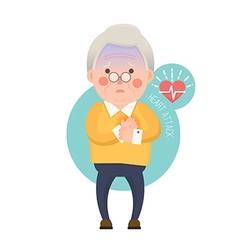 Old Man Heart Attack Cartoon Character vector image