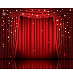 Open Red Curtains with Neon Lights vector