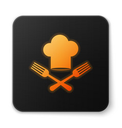 Orange glowing chef hat and crossed fork icon vector