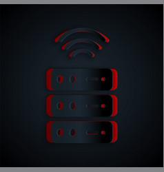 Paper cut smart server data web hosting icon vector