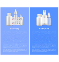 pharmacy poster with containers for medical pills vector image