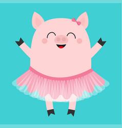pig bellerina piglet piggy ballet dancer dressed vector image