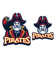 Pirate mascot with the parrot vector