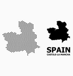 Pixelated mosaic map castile-la mancha province vector