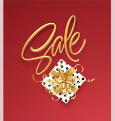 realistic metallic gold inscription sale on the vector image