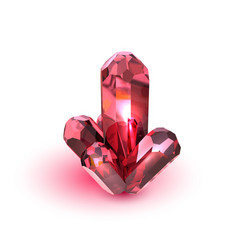 realistic red crystal on white background nature vector image