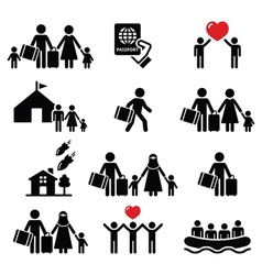 Refugee immigrants families running away icons vector