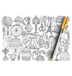 retro vintage accessories doodle set vector image
