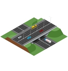 Road infographics with highways with city vector