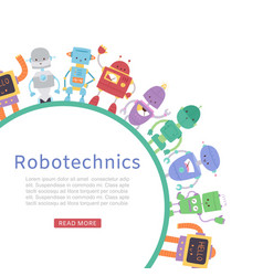 robotics with cute robots and transformers round vector image