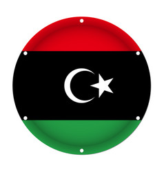 Round metallic flag of libya with screw holes vector