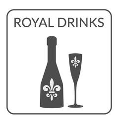 Royal Drinks sign Wine menu design vector image
