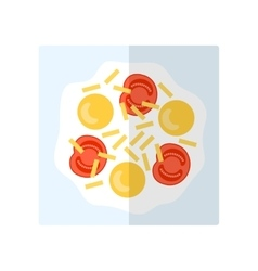 Scrambled eggs Flat icon fried eggs with cheese vector image