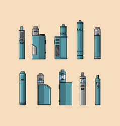Set of cartoon-style vaping device vector