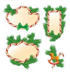Set of fir-tree branches Candy frames and borders vector