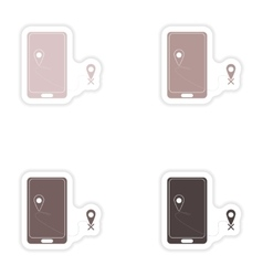 Set paper stickers on white background mobile vector