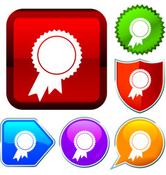 Set shiny icon series on buttons award vector