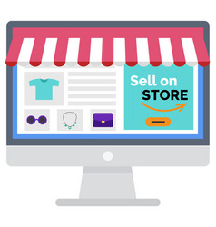 Shopping online sell on store computer vector