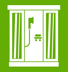 shower cabin icon green vector image
