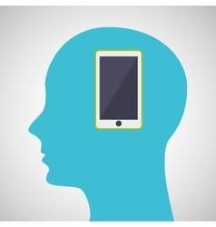 silhouette profile business smartphone concept vector image