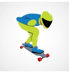 Skateboarder longboarding downhill vector