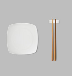 square sushi plate and chopsticks realistic vector image