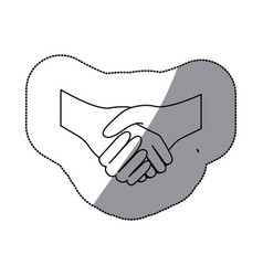 Sticker sketch silhouette handshake agreement icon vector