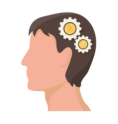The head of a man with gears the generator of vector